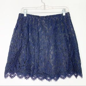 J Crew Navy Lace Skirt Size 4